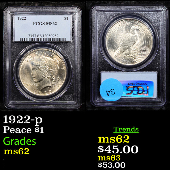 PCGS 1922-p Peace Dollar $1 Graded ms62 By PCGS