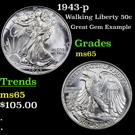 1943-p Walking Liberty Half Dollar 50c Grades GEM Unc