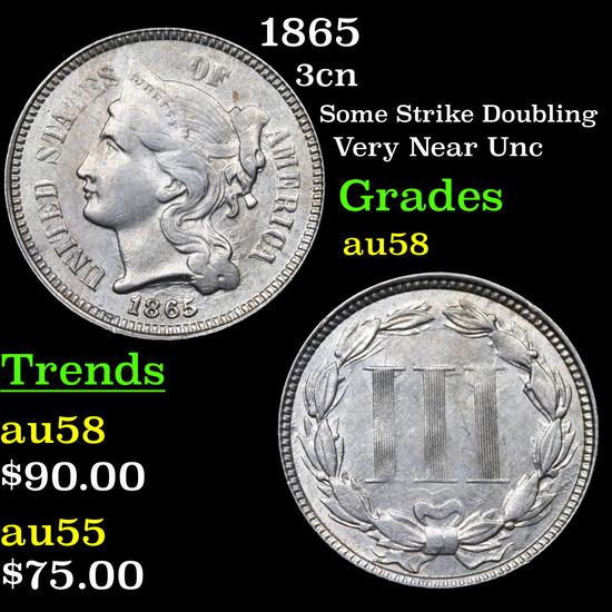 1865 Three Cent Copper Nickel 3cn Grades Choice AU/BU Slider