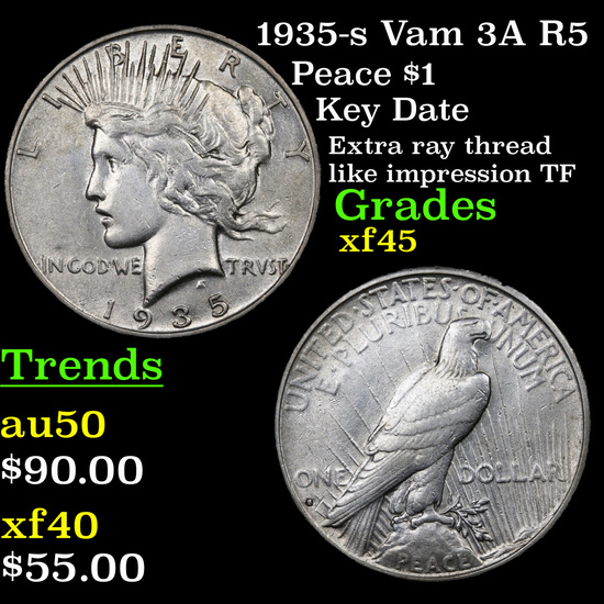 1935-s Vam 3A R5 Peace Dollar $1 Grades xf+