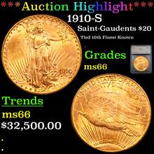 1910-S ST-Gaudens Double Eagle $20 Gold Gradedms66
