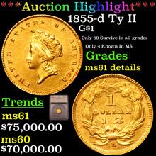1855-d Ty II Gold Dollar $1 Graded ms61 details