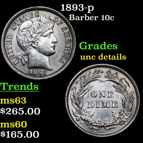 1893-p Barber Dime 10c Grades Unc Details