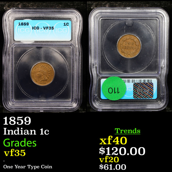 1859 Indian Cent 1c Graded vf35 By ICG