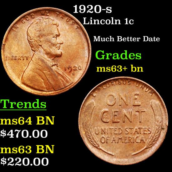 1920-s Lincoln Cent 1c Grades Select+ Unc BN