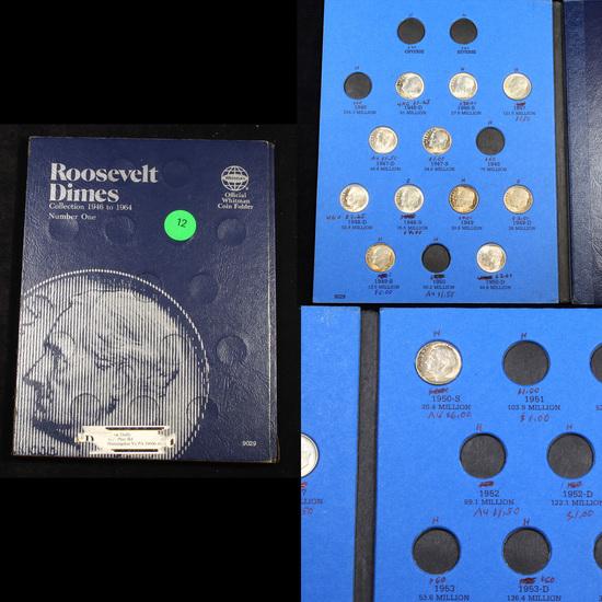 Partial Roosevelt Dime Book 1946-1950  12 coins