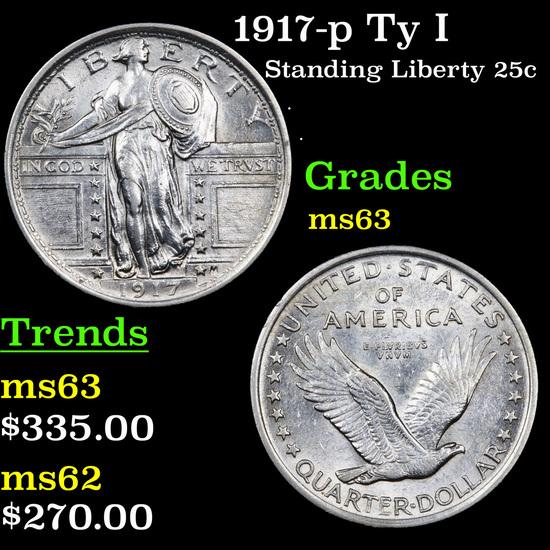 1917-p Ty I Standing Liberty Quarter 25c Grades Select Unc