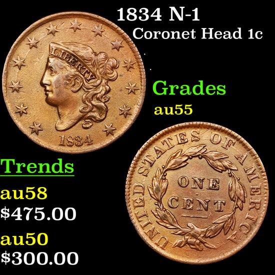 1834 N-1 Coronet Head Large Cent 1c Grades Choice AU
