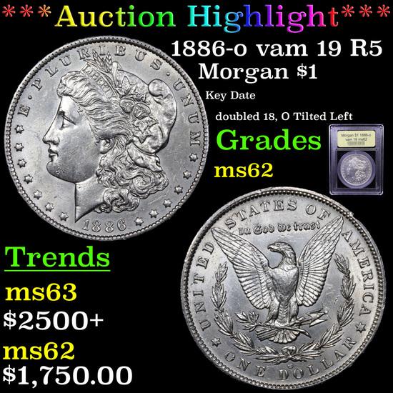 ***Auction Highlight*** 1886-o vam 19 R5 Morgan Dollar $1 Graded Select Unc By USCG (fc)