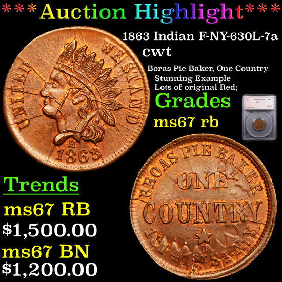***Auction Highlight*** 1863 Indian F-NY-630L-7a Civil War Token 1c Graded ms67 rb By SEGS (fc)