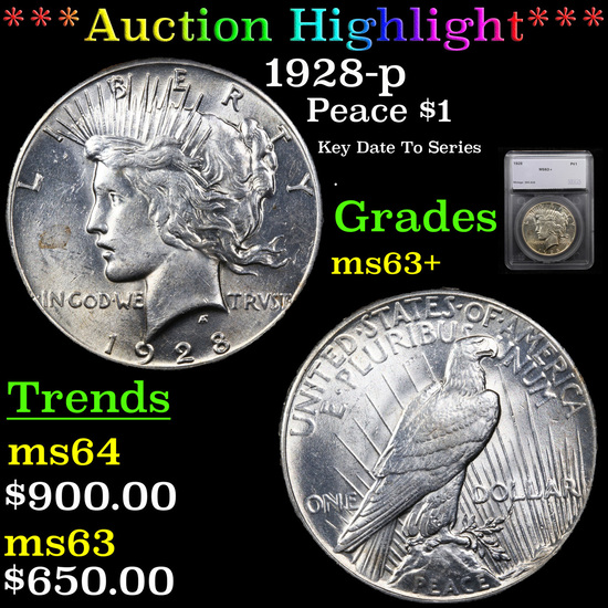 ***Auction Highlight*** 1928-p Peace Dollar $1 Graded ms63+ By SEGS (fc)