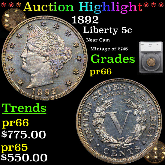 Proof ***Auction Highlight*** 1892 Liberty Nickel 5c Graded pr66 By SEGS (fc)