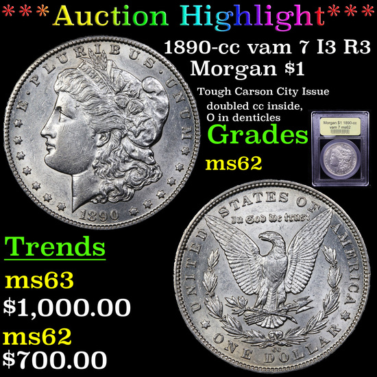 ***Auction Highlight*** 1890-cc vam 7 I3 R3 Morgan Dollar $1 Graded Select Unc By USCG (fc)