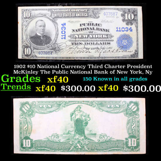 1902 $10 National Currency Third Charter President McKinley The Public National Bank of New York, Ny
