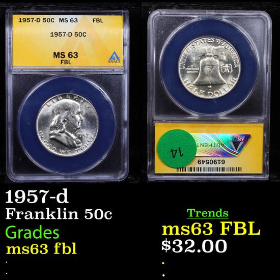 ANACS 1957-d Franklin Half Dollar 50c Graded ms63 fbl By ANACS
