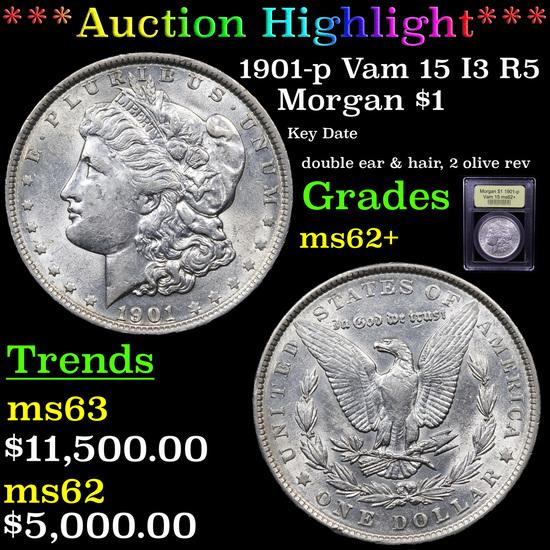***Auction Highlight*** 1901-p Vam 15 I3 R5 Morgan Dollar $1 Graded Select Unc By USCG (fc)