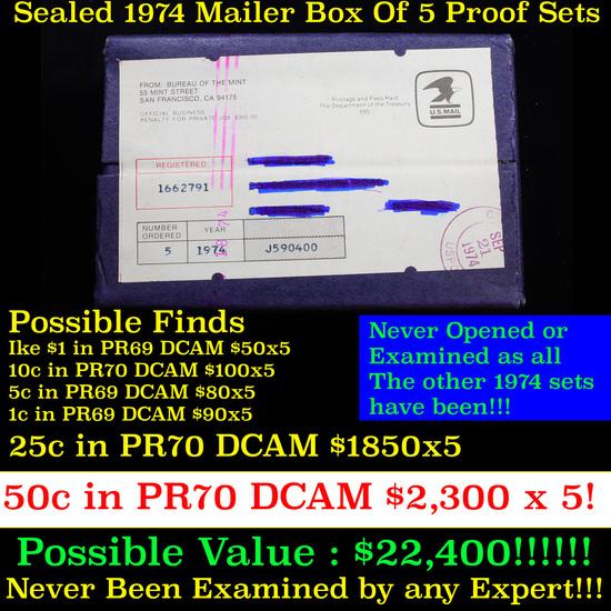 ***Auction Highlight*** Original sealed box 5- 1974 United States Mint Proof Sets (fc)
