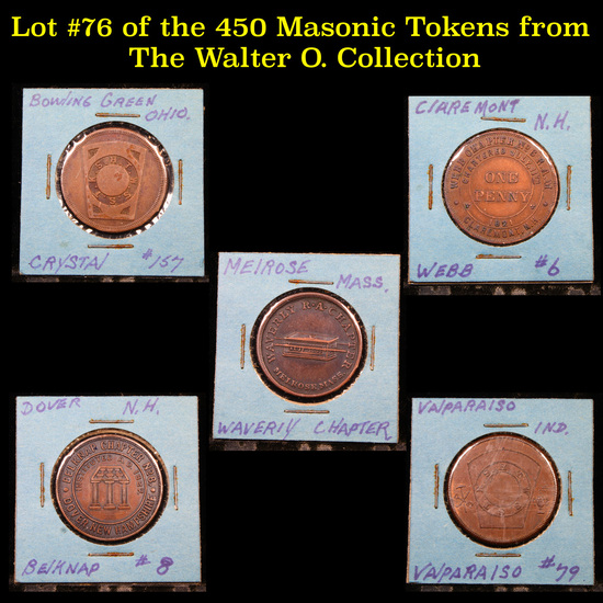 Lot #76 of the 450 Masonic Tokens from The Walter O. Collection