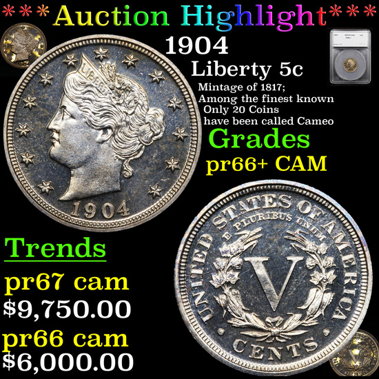 Proof *HIGHLIGHT OF ENTIRE ACUITION* 1904 Liberty Nickel 5c Graded pr66+ CAM By SEGS (fc)