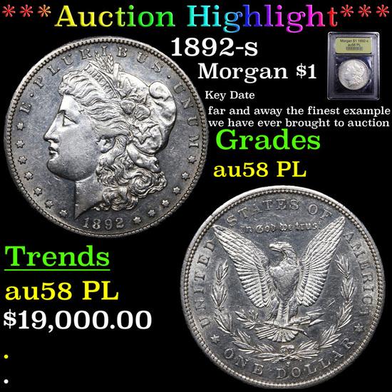 ***Auction Highlight*** 1892-s Morgan Dollar $1 Graded Choice AU/BU Slider PL By USCG (fc)