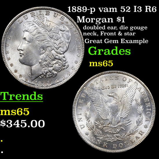 1889-p vam 52 I3 R6 Morgan Dollar $1 Grades GEM Unc