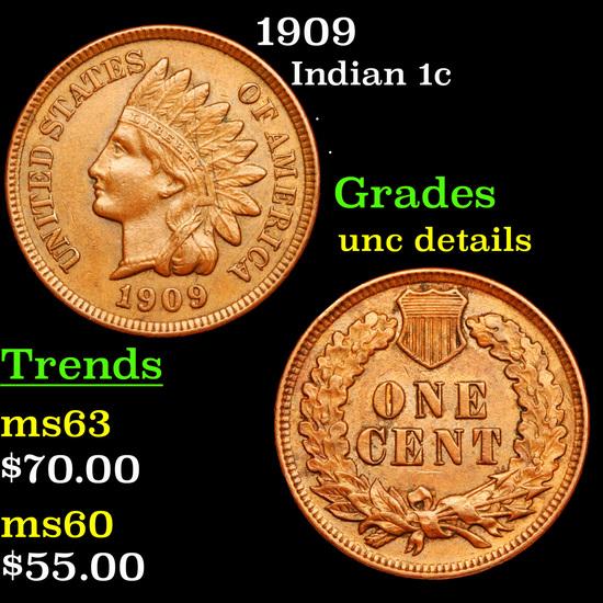 1909 Indian Cent 1c Grades Unc Details
