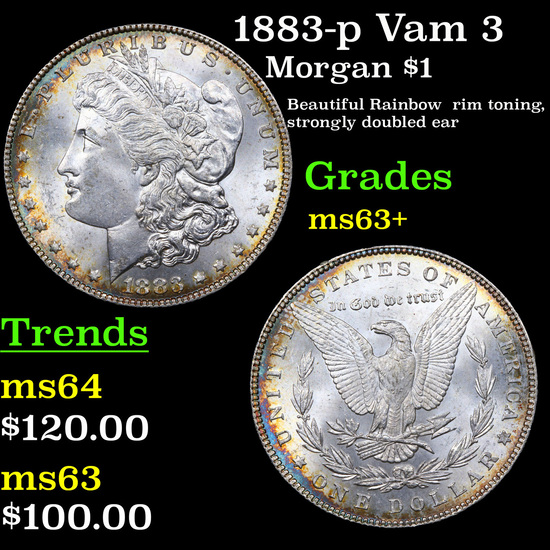 1883-p Vam 3 Morgan Dollar $1 Grades Select+ Unc