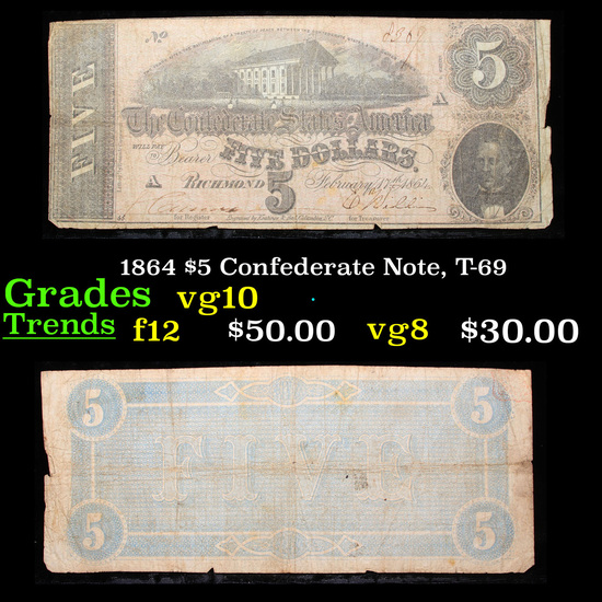 1864 $5 Confederate Note, T-69 Grades vg+