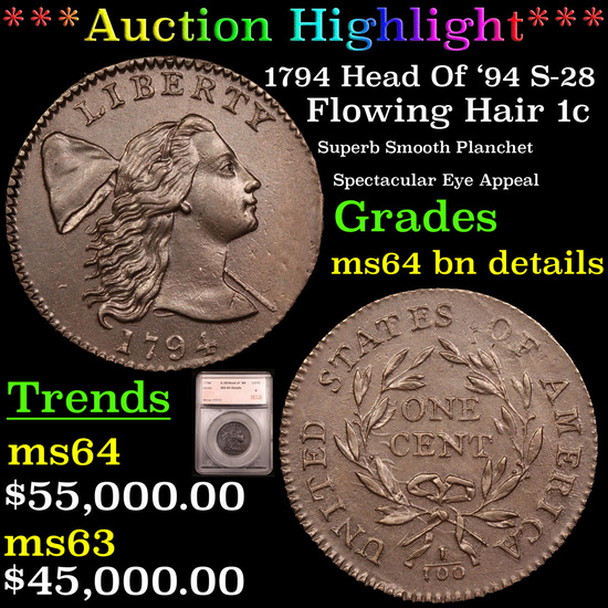 *HIGHLIGHT OF NIGHT* 1794 Head Of '94 S-28 Flowing Hair large cent 1c Graded By SEGS (fc)