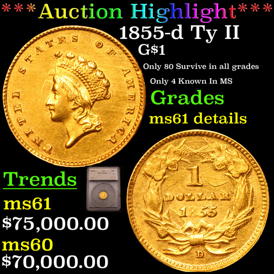 *HIGHLIGHT OF THE MONTH* 1855-d Ty II Dahlonega Gold Dollar $1 Graded ms61 details By SEGS (fc)