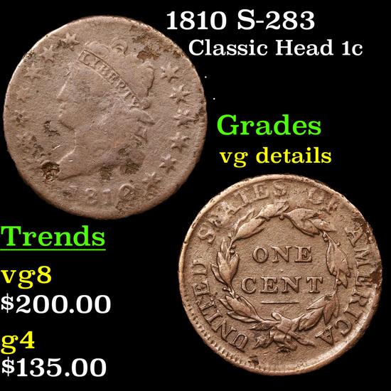 1810 S-283  Classic Head Large Cent 1c Grades vg details