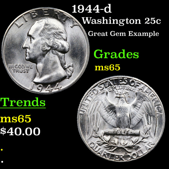 1944-d Washington Quarter 25c Grades GEM Unc
