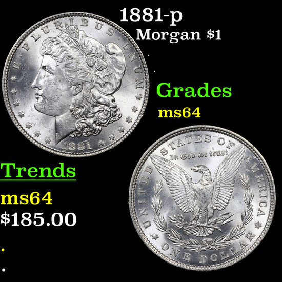 1881-p Morgan Dollar $1 Grades Choice Unc