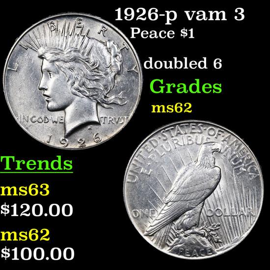 1926-p vam 3 Peace Dollar $1 Grades Select Unc