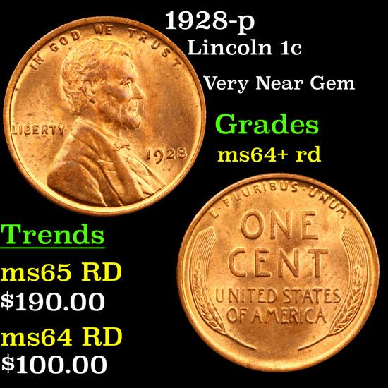 1928-p Lincoln Cent 1c Grades Choice+ Unc RD
