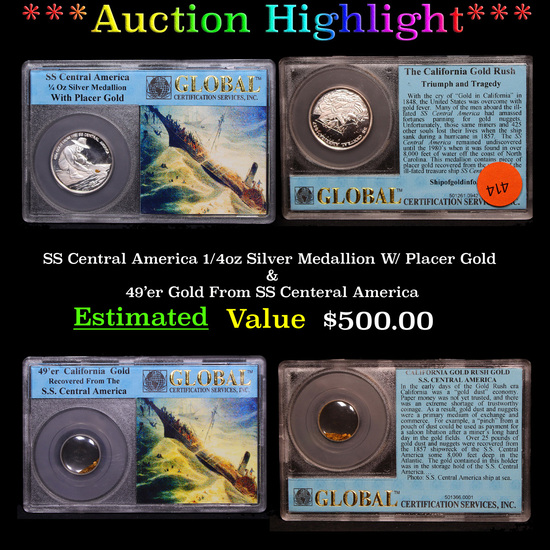 ***Auction Highlight*** SS Central America 1/4oz Silver Medallion W/ Placer Gold & 49'er Gold From S