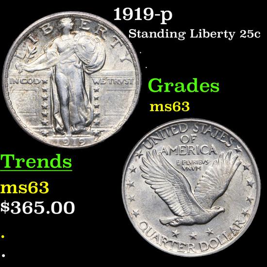 1919-p Standing Liberty Quarter 25c Grades Select Unc