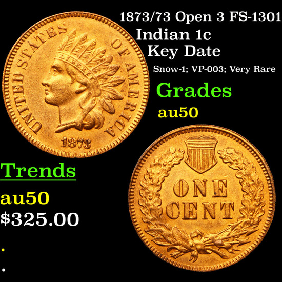 1873/73 Open 3 FS-1301 Indian Cent 1c Grades AU, Almost Unc