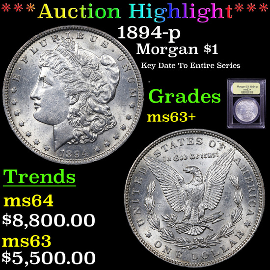 ***Auction Highlight*** 1894-p Morgan Dollar $1 Graded Select+ Unc By USCG (fc)