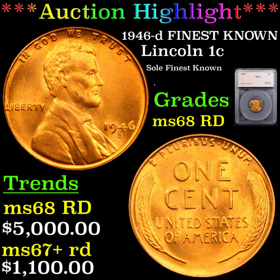 ***Auction Highlight*** 1946-d FINEST KNOWN Lincoln Cent 1c Graded ms68 RD By SEGS (fc)
