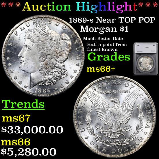 *HIGHLIGHT OF MONTH* 1889-s Near TOP POP Morgan Dollar $1 Graded ms66+ By SEGS (fc)