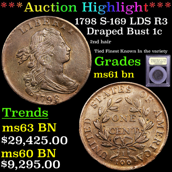 ***Auction Highlight*** 1798 S-169 LDS R3 Draped Bust Large Cent 1c Graded Unc+ BN By USCG (fc)