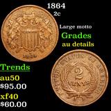 1864 Two Cent Piece 2c Grades AU Details