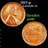 1917-p Lincoln Cent 1c Grades Choice AU/BU Slider+