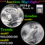 ***Auction Highlight*** 1924-p Peace Dollar $1 Graded ms66+ By SEGS (fc)