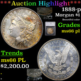 ***Auction Highlight*** 1888-p Morgan Dollar $1 Graded ms66 pl By SEGS (fc)