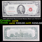 1966 $100 Red Seal United States Note Low Serial # Grades Choice AU/BU Slider