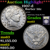***Auction Highlight*** 1907-d Barber Half Dollars 50c Graded Select Unc By USCG (fc)