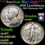 ***Auction Highlight*** 1936 Lynchburg Old Commem Half Dollar 50c Graded GEM++ Unc By USCG (fc)