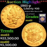 ***Auction Highlight*** 1861-p Gold Liberty Double Eagle $20 Graded BU+ By USCG (fc)